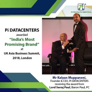 "Pi DATACENTERS awarded ""India's Most Promising Brand"" at UK Asia Business Summit, 2018, London"